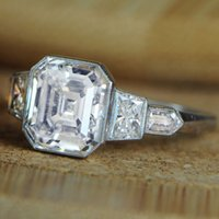 asscher cut diamond engagement ring - GIA TCW Flawless Asscher Cut Diamond Five Stone Engagement Ring in K Gold