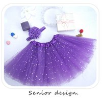 Classic Tutu Dresses Floral Girls 2Pieces Baby Lace Hair Accessories Lovely Girl BlingBling Star Skirt For Toddlers Ballet Skirts 3layers Children 6 Colour Pettiskirt