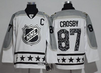 Wholesale 2017 All Star Ice Hockey Jersey Metropolitan Division Penguins Crosby Malkin Size M XXXL White Color Stitched Mix Order All Jerseys