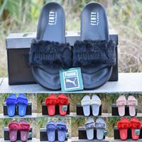 Wholesale 2017 Leadcat Fenty Rihanna Slippers Plush women Puma Fur Slides Sandals factory outlet mens Pumas shoes size36