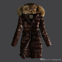 Wholesale Newest mon er female parka jackets with belt slim midi long white duck down coats real raccoon fur collar hood parkas