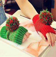 ab gloves - Women Winter Fingerless Gloves Fashion AB ladies Winter Hand Wear Warm Arm Gloves Knitted Rabbit Fur Knitted Short Gloves Mittens F140