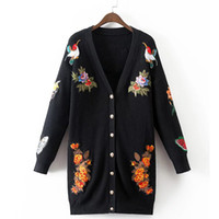 bee cardigan - Bee Butterfly Tiger Embroidery Long Knitted Women Cardigan Plus Size V neck Long Sleeve Sweater Outerwear pull femme XDWM688