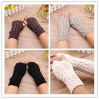 armed unique - Unique Design Women Fashion Knitted Arm Fingerless Mitten Wrist Warm Winter Long Gloves Retail JF