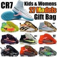 al por mayor botas juveniles-Calzado de fútbol para niños Mercurial CR7 Superfly V FG Botas de fútbol para niños de interior Magista Obra 2 Chaquetas de fútbol juvenil para mujeres Cristiano Ronaldo