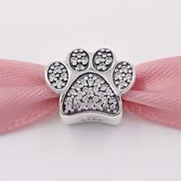 Auténtica plata de ley 925 granos pavé pata encanto se adapta a Europa Pandora estilo joyería pulseras collar 791714CZ gato animal de cristal