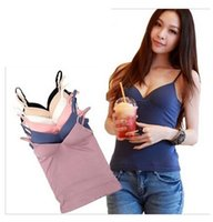 bamboo camisole - Fashion Modal Adjustable Strap Built In Padded Self Mold Camis Tanks Top Camisole Camis Women