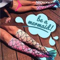 Wholesale 100 Real shot d Mermaid Tail socks princess Beach Stocking Cosplay Long Fish Scales knee highs Socks
