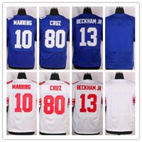 Wholesale Men s Stitched Elite football Odell Beckham Jr Eli Manning Victor Cruz White Blue Jerseys Mix Order Drop Shipping