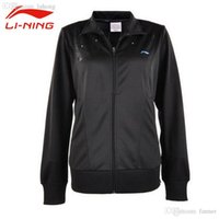 Wholesale Li Ning Women s Autumn Rib Sleeve Tennis Jacket Windproof Li Ning Sport Coat Female Breathable Front Zipper Jackets