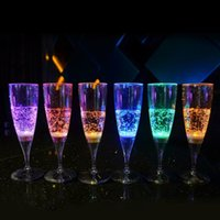 Wholesale 6 Colorful LED Light Flashing Cup Beer bar Mug Drink Cup LED Champagne Glass Inductive Color Cup Goblet for Party Wedding