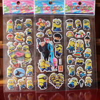 Wholesale Bubble Stickers D Cartoon minion sticker Classic Toys Scrapbook For Kids Children Gift Reward wall Sticker