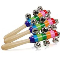 Nuevo bebé caliente Rattle Rainbow Toy Kid Pram Cuna Mango Madera Actividad Bell Anillo Stick Shaker Rattle Baby Gift
