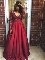 african americans pictures - Vestidos African American Dark Red Lace Prom Dresses Long Sleeves Court Train Zipper Back Formal Party Celebrity Evening Gowns