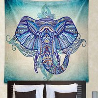 Wholesale Drop Shipping New Arrival Elephant Tapestry India Wall Hanging Home Decoration Tapestries Blue Colorful Boho Printed Blanket