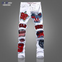 Wholesale fashion male white jeans trousers spring summer Metrosexual printing slim elastic casual special pants men painted flowers star