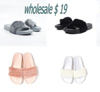 Polyester ballet slippers black - pairs Send With Original Boxes With Logo Leadcat Fenty Rihanna Shoes Indoor Women Slippers Sandals Shoes Girl Scuffs Shoes