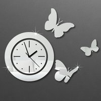 antique still life - Hot selling Acrylic d Sticker Wall Stickers Home Decor Mirror Wall Clock Large Still Life Kitchen Butterfly3color