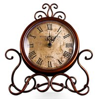 antique iron clocks - Europe Style Clock Iron Table Clock Creative Fashion Living Room Desk Watch Antique Table Clock