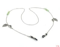 Wholesale GL189 pc new coming green crystal beads dangling leaf sunglasses strap eyeglass cord glasses lanyards