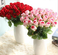 Wholesale 4 colors heads artificial rose bridal bouquets silk flowers for Valentine s day wedding party centerpieces home holiday decoration