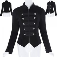Wholesale Collar Decorated Ladies - 2017 New Fashion Women Black Double Button Decorated Autumn Long Sleeve Jackets Military Office Lady Work Coats KK000464