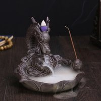 art ceramic - Ceramic Dragon Incense Burner for Smoke Backflow Like Water Streaming Down Art Craft Incense Cone Furnace Home Decor