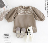 baby smocked dresses - Baby Autumn Grey Smocked Puff Long Sleeve Dresses Grey Vintage Design Children Girls Dresses For Years Casual Retro Dress B4372