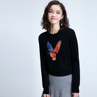 animal print sweaters for women - Bird Embroidered Sweater pullover for Woman Korean style