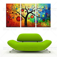 More Panel Environmental friendly oil ink Abstract Hot Sales 3 Piece Wall Art Painting Pictures Print on Canvas Modern Wall Art Decorative Painting of Money Tree -- Canvas Prints
