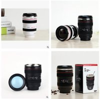 Wholesale Cup Stainless Steel SLR Camera Coffee Lens ML Mug scale coffee cup Creative Bottle Home Office Thermal Mug for Gift
