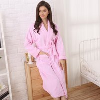 bathrobe towel material - Cotton gown bathrobe towel material for men and women in autumn and winter long adult size thickened Hotel bathrobe pyjamas Home Furnishing