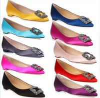 ballet photos - Women Pointed Toe Silk Satin Diomand Sqaure Buckle Flat Shoes Female Design Satin Shoes Colors Real Photo Wedding Shoe