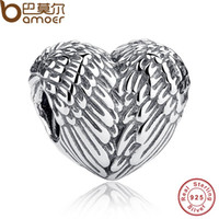 Wholesale Sculptural Sterling Silver Angelic Feathers Wings Charm Fit BME Bracelet Silver Jewelry Making PAS033