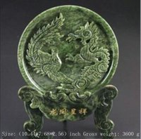 Stone antique wood statue - Exquisite Natural Jade Dragon and Phoenix Statue Round Ornament Plate