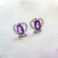 Wholesale Dazzling real Solid Sterling Silver earrings for women fashion high quality natural amethyst and zircon silver stud earrings