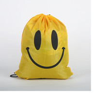 Wholesale fashion Cute Emoji Drawstring Bags for Women Men Children Cartoon Unisex Emoji Backpacks Fashion Smile Printed Student bags WA1632