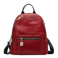 backpacks collection - Real Leather Double Shoulder Bags High Fashion Lady School Bags Cowhide Women s Knapsack New Collection CH800095