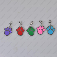 Wholesale lovely High Quality dog paw Alloy Pet Dog Cat ID Card Tags Necklace ornaments Keychain DHL