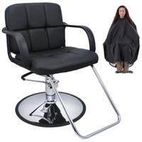 beauty salon styling chairs - Cutting Hair Cape w Hydraulic Barber Chair Salon Beauty Spa Styling Black Seat