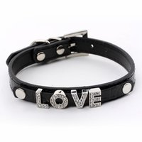 Wholesale 10pcs Blank PU Leather Pet Cat Dog Collar With Slide Bar for mm diy slide letters charms