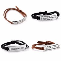 Wholesale Encouraged Inspirational Leather Bracelet Letter Tag Message Words Charm Bangle Women Men Gift Lover Family Jewelry