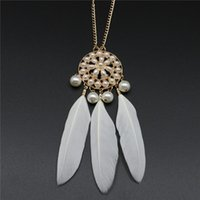 feathers - New Hot Selling Classical Bohemian Pendant Necklace Pearl Studded Feather Style Chain Necklace Fast