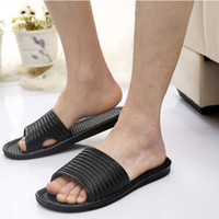 Wholesale Splendid summer Man Stripe Flat Bath Slippers Summer Sandals Indoor Outdoor Slippers size