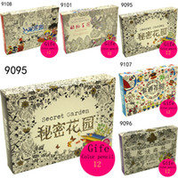 Wholesale 5 styles card kids adult drawing coloring books decompression Graffiti Painting Secret Garden Relieve Stress Double sided card
