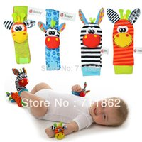 Wholesale Sozzy promotion baby rattle toys Garden Bug Wrist Rattle and Foot Socks plush baby toys