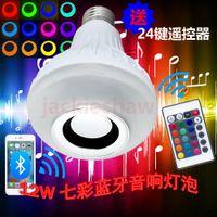 Wholesale Wireless E27 W Bluetooth Remote Control Mini Smart LED Audio Speaker RGB Color Light Warm Bulb Music Lamp