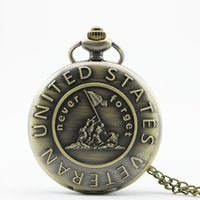 analog history - PB365 Remember The History quot United States Veteran quot Bronze Pocket Watch With Necklace Chain