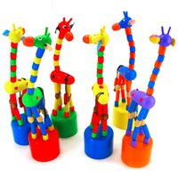 Wooden Unisex > 3 years old Wholesale- Colorful Rocking Giraffe Toy For Baby Stroller Pram Accessories Toddler Kids Educational Wooden Blocks Toys