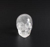 1,9 POUCE Cristal découpé découpé naturel Cristal sculpté Statue en crâne de guérison rénale avec une pochette en velours